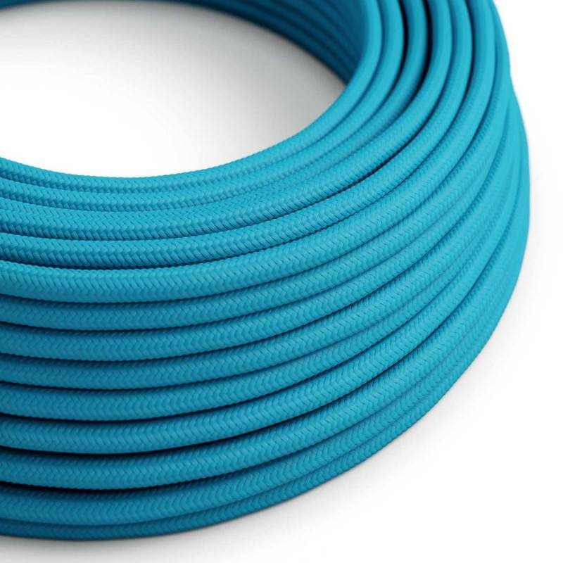 image-Round Turquoise fabric cable