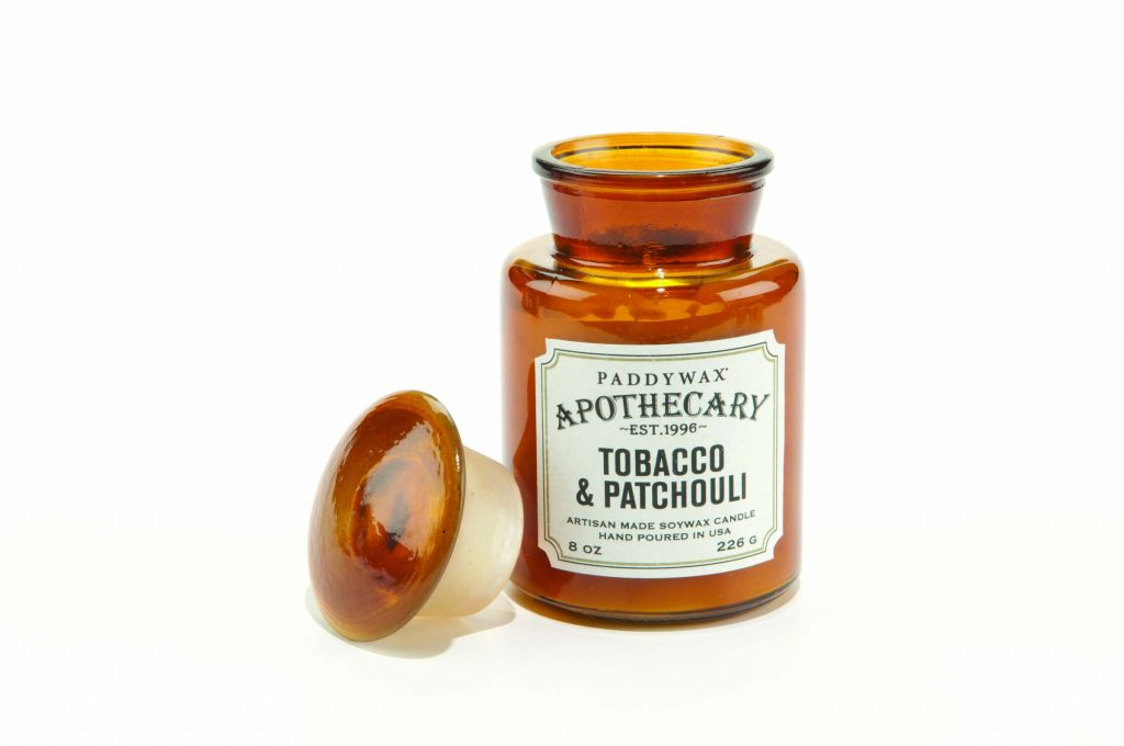 image-Apothecary Farmouse 8oz Glass Candle -  Tobacco & Patchouli