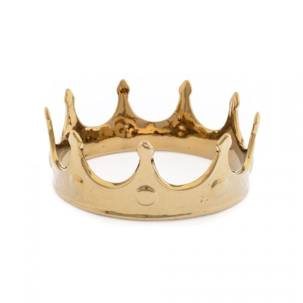 Product image of the Seletti gold porcelain crown ornament.